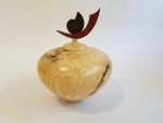 Box elder burl with chechin and ammonite finial