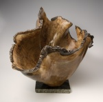 Walnut burl sculpted vessel